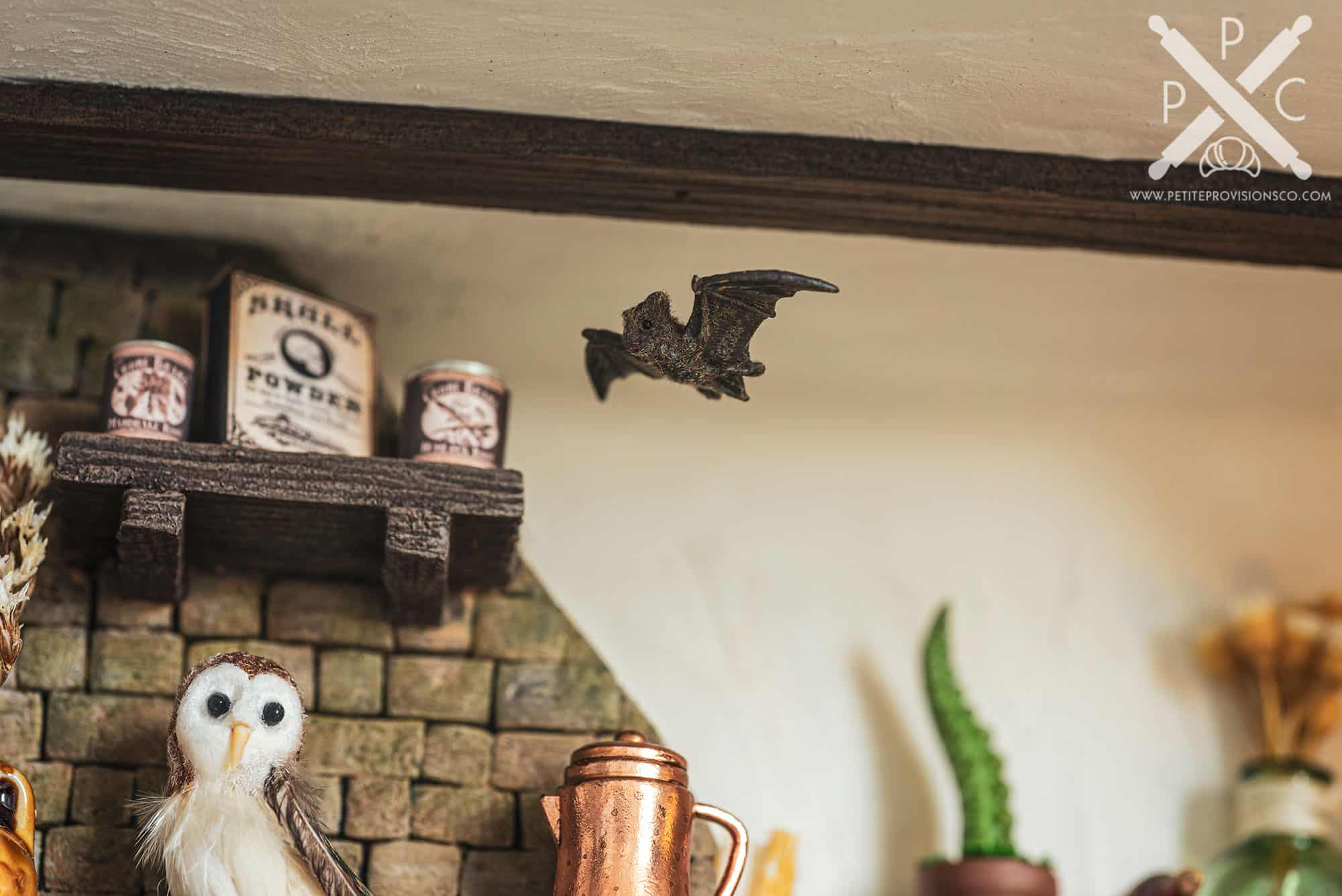 Flying Bat in Witch's Kitchen Themed Roombox - Halloween at the Hag's Hearth - HBSMiniatures Halloween Challenge 2020