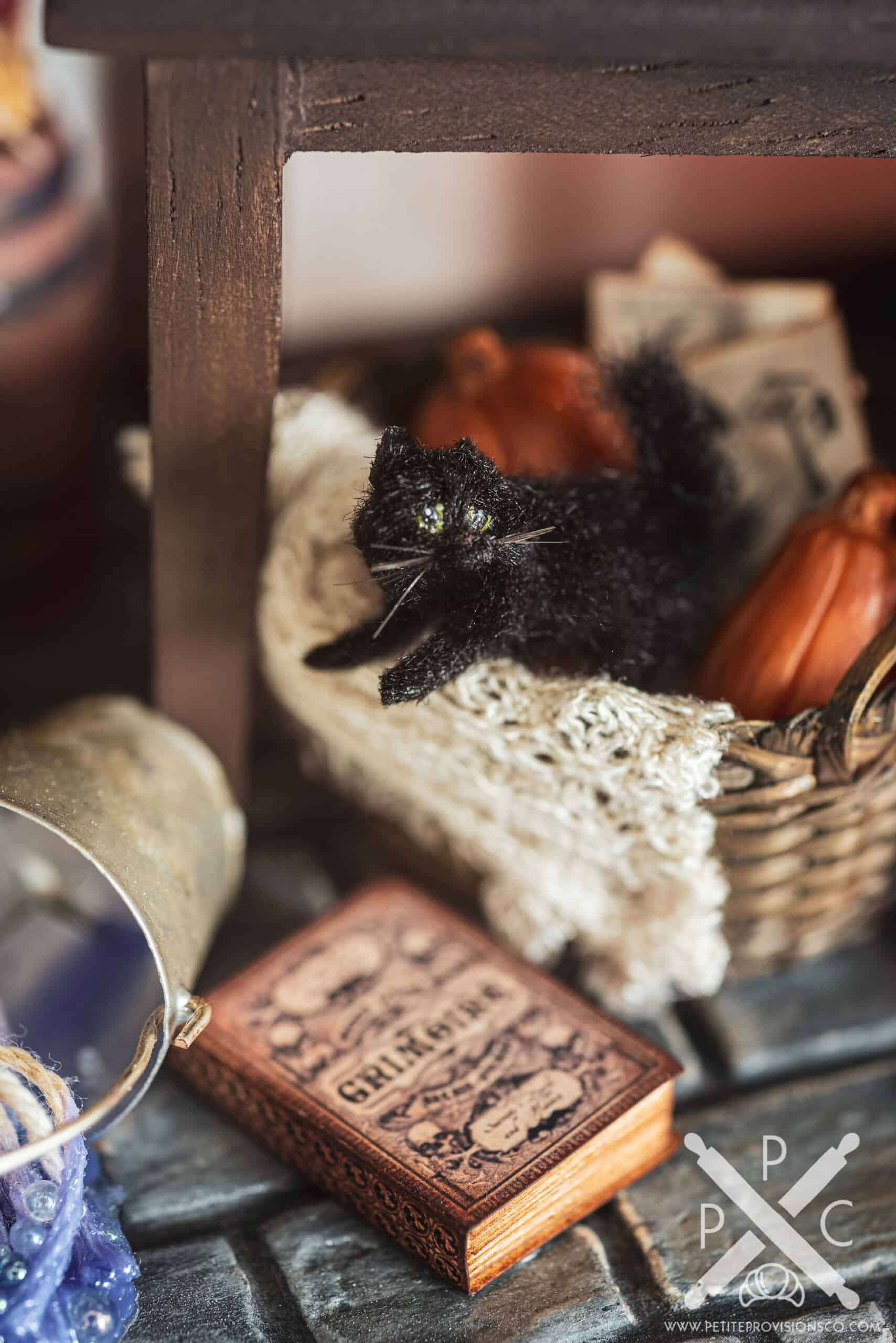 Black Cat and Grimoire in Witch's Kitchen Themed Roombox - Halloween at the Hag's Hearth - HBSMiniatures Halloween Challenge 2020