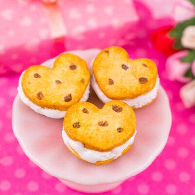 Dollhouse Miniature Heart Chocolate Chip Cookie Ice Cream Sandwiches - 1:12 Dollhouse Miniature Cookies