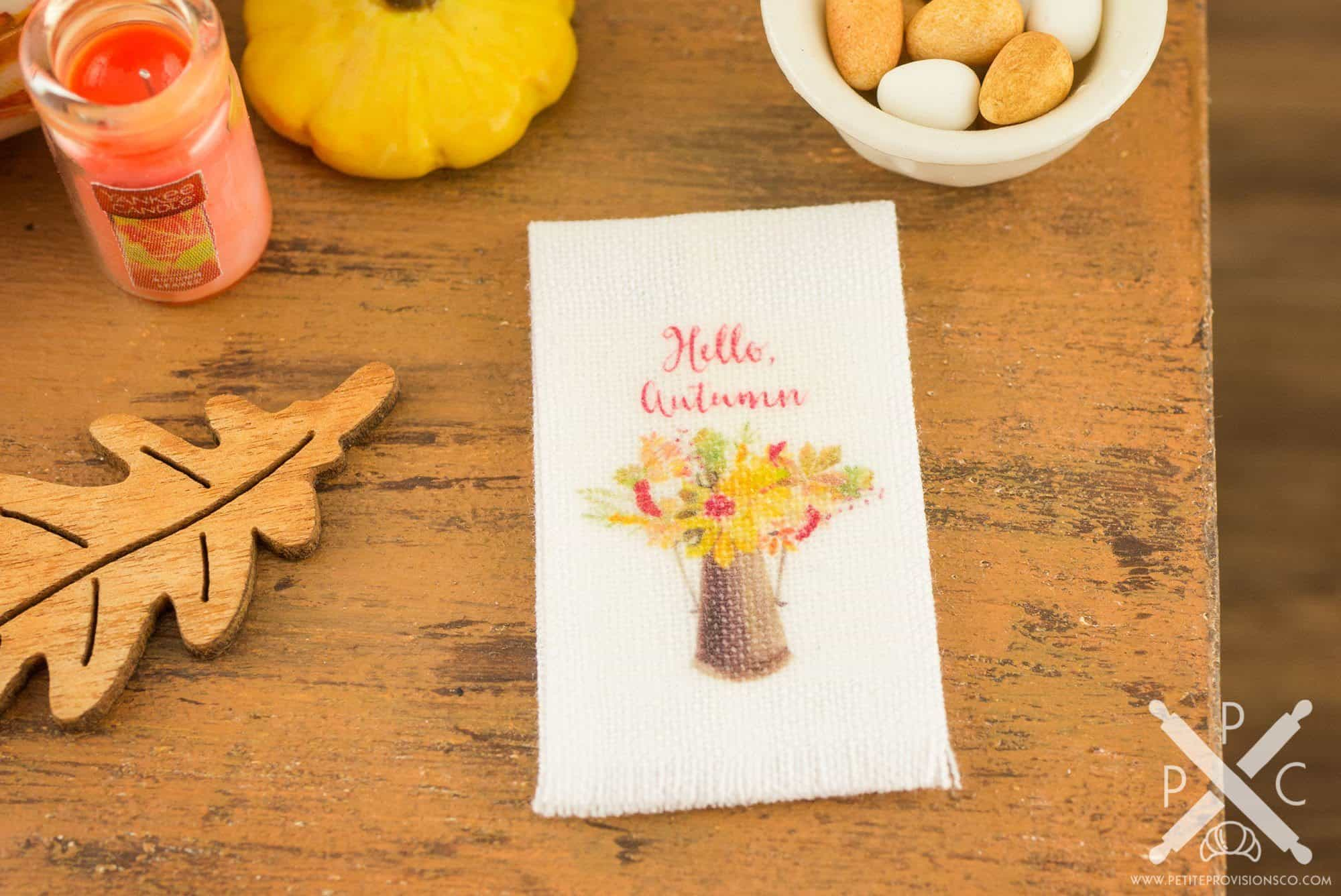 Hello autumn floral bouquet tea towel miniature hello autumn floral bouquet tea towel 112 dollhouse miniature the petite provisions co izmirmasajfo