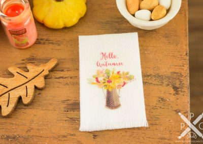 Hello Autumn Floral Bouquet Tea Towel
