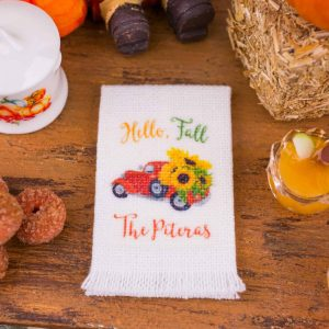 Personalized Hello Fall Sunflower Truck Tea Towel