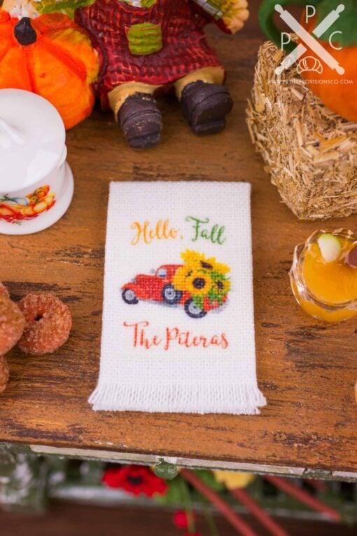Dollhouse Miniature Personalized Hello Fall Sunflower Truck Tea Towel - 1:12 Dollhouse Miniature - Fall Miniatures