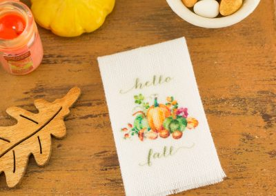 Hello Fall Pumpkins and Mushroom Autumn Tea Towel