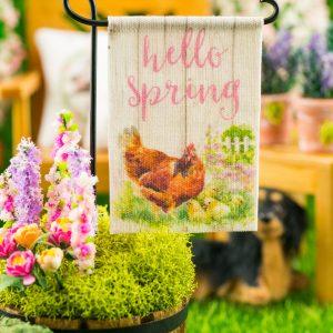 Hello Spring Hen and Chicks Spring Garden Flag