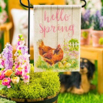Dollhouse Miniature Hello Spring Hen and Chicks Spring Garden Flag
