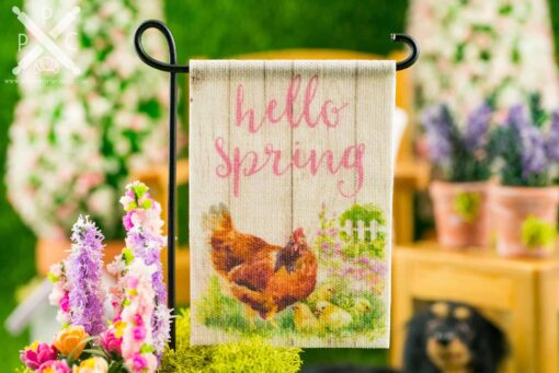 Dollhouse Miniature Hello Spring Hen and Chicks Spring Garden Flag