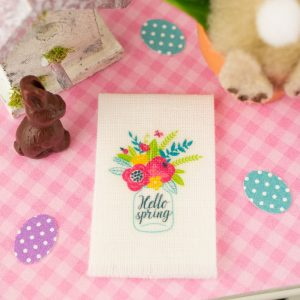 Hello Spring Tea Towel – Easter Kitchen Towel – 1:12 Dollhouse Miniature