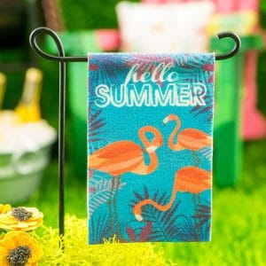 Hello Summer Flamingo Garden Flag