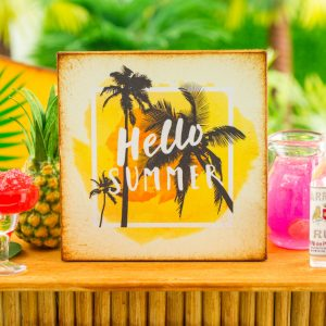 Hello Summer Palm Tree Silhouette Sign