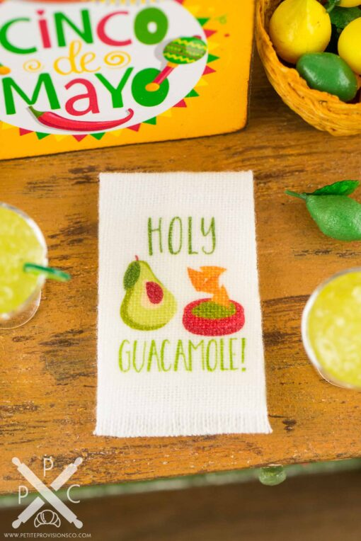 Dollhouse Miniature Holy Guacamole Tea Towel