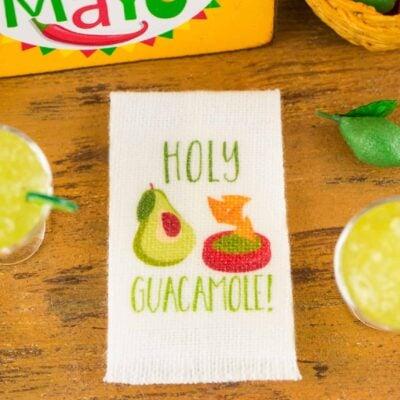 Dollhouse Miniature Holy Guacamole Tea Towel