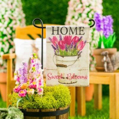 Dollhouse Miniature Home Sweet Blooms Spring Garden Flag