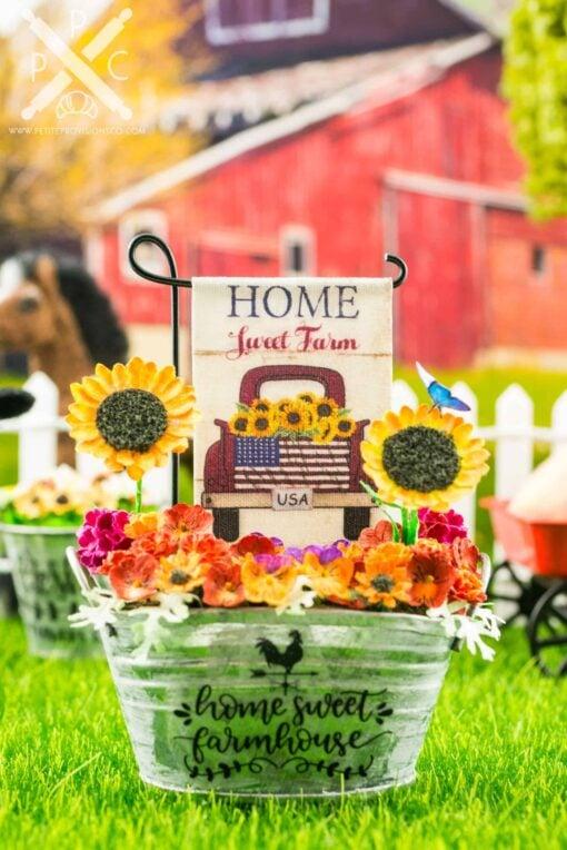 Dollhouse Miniature Home Sweet Farm Sunflowers Garden Flag - 1:12 Dollhouse Miniature Garden Flag