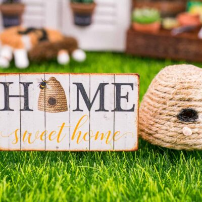 Dollhouse Miniature Home Sweet Home Beehive Sign - Decorative Spring Sign - 1:12 Dollhouse Miniature Garden Sign