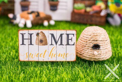 Dollhouse Miniature Home Sweet Home Beehive Sign - Decorative Spring Sign - 1:12 Dollhouse Miniature Garden Sign