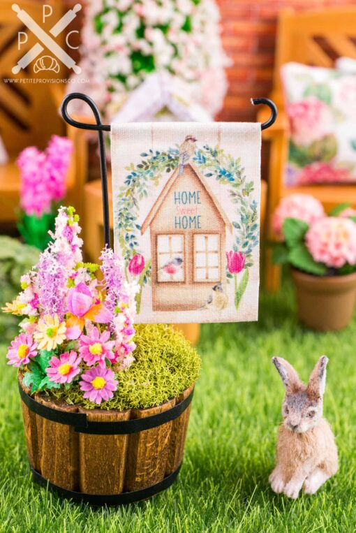Dollhouse Miniature Home Sweet Home Spring Garden Flag - 1:12 Dollhouse Miniature Garden Flag