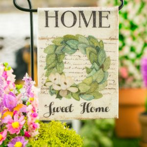 Home Sweet Home Magnolia Wreath Spring Garden Flag