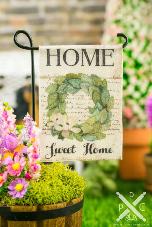 Dollhouse Miniature Home Sweet Home Magnolia Wreath Spring Garden Flag