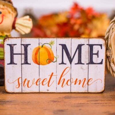 Dollhouse Miniature Home Sweet Home Pumpkin Sign - Decorative Autumn Sign - 1:12 Dollhouse Miniature Decor