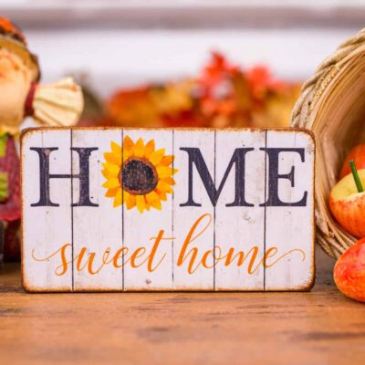 Dollhouse Miniature Home Sweet Home Sunflower Sign - Decorative Autumn Sign - 1:12 Dollhouse Miniature Decor