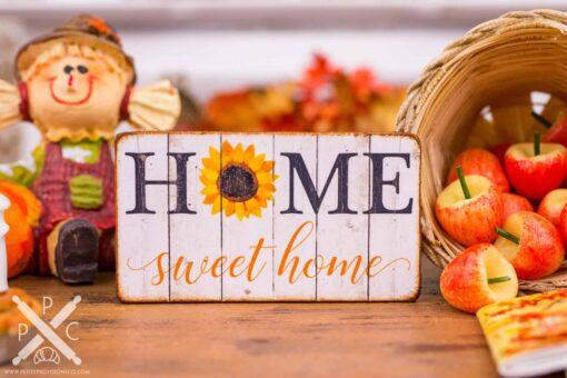 Dollhouse Miniature Home Sweet Home Sunflower Sign - Decorative Autumn Sign - 1:12 Dollhouse Miniature Decor