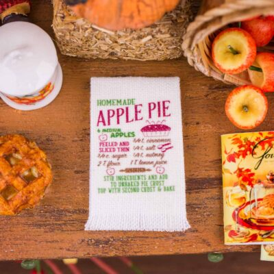 Dollhouse Miniature Homemade Apple Pie Recipe Tea Towel - 1:12 Dollhouse Miniature - Fall Miniatures - Thanksgiving Miniatures