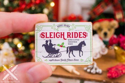 Dollhouse Miniature Horse Drawn Sleigh Rides Sign - 1:12 Dollhouse Miniature Christmas Sign