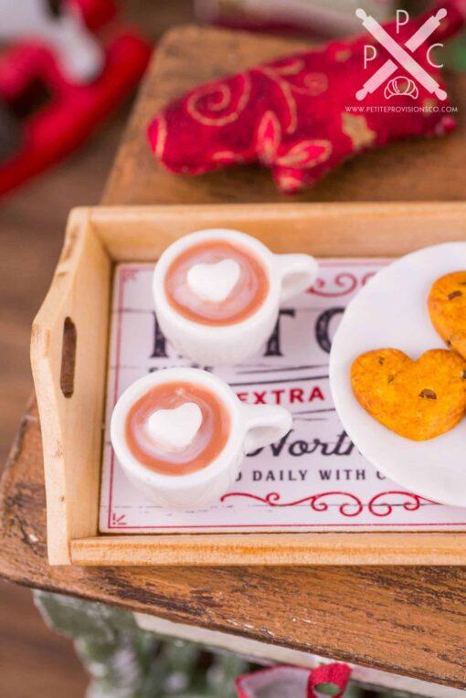 Dollhouse Miniature Hot Cocoa and Chocolate Chip Cookies on Wood Tray - 1:12 Dollhouse Miniature Christmas - Christmas Miniatures