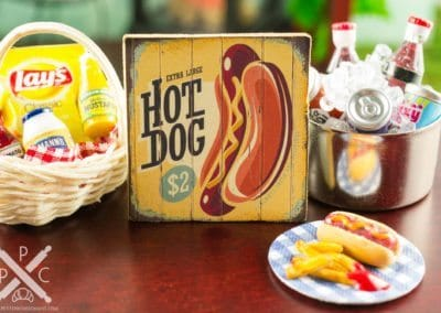Decorative Food Sign – Assorted Hamburgers, Hot Dogs, Pretzels
