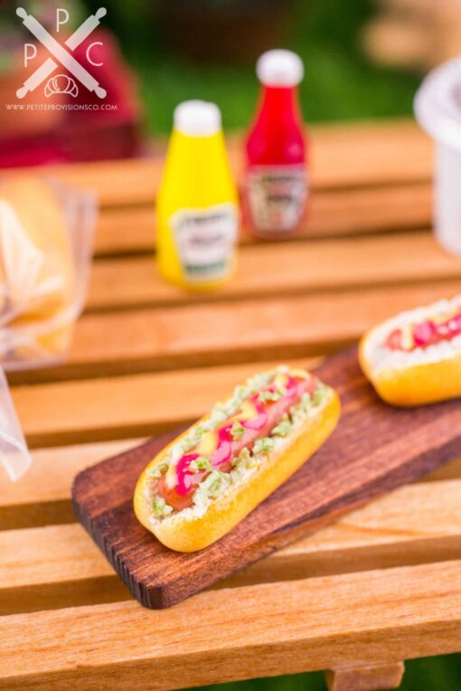 Dollhouse Miniature Grilled Hot Dogs on Board - 1:12 Dollhouse Miniature Hot Dog Set