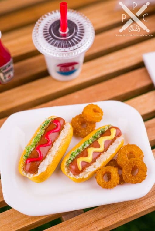 Dollhouse Miniature Hot Dogs and Onion Rings Platter - 1:12 Dollhouse Miniature Hot Dog Set