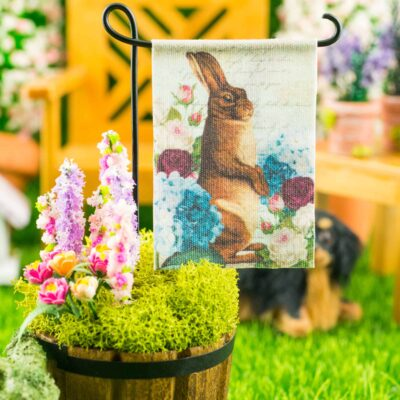 Dollhouse Miniature Floral Rabbit Easter Garden Flag