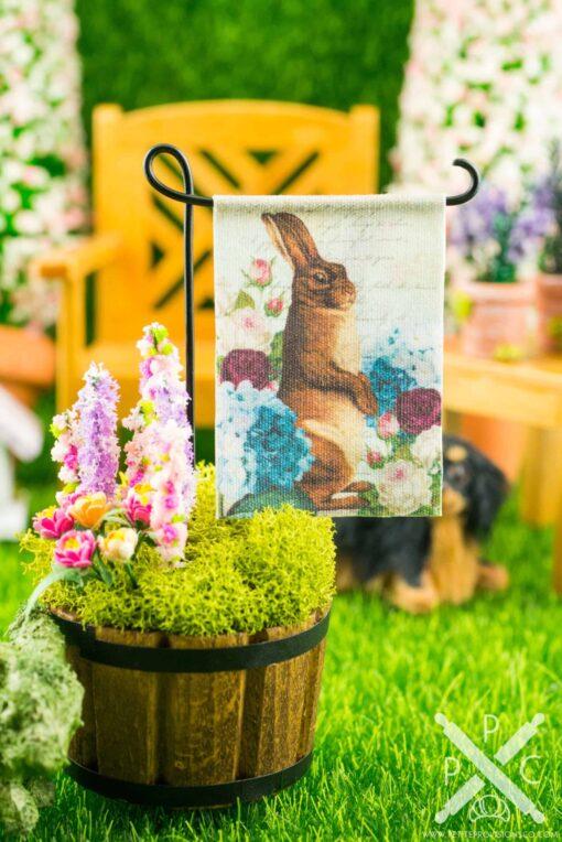 Dollhouse Miniature Floral Rabbit Easter Garden Flag