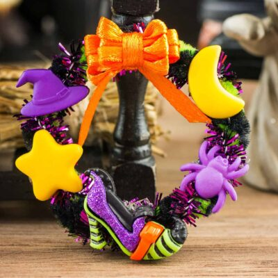 Dollhouse Miniature If The Shoe Fits Witchy Halloween Wreath