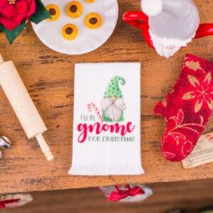 I'll Be Gnome for Christmas Tea Towel