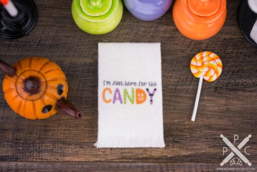 Dollhouse Miniature I'm Just Here for the Candy Tea Towel - Halloween Kitchen Towel - 1:12 Dollhouse Miniature - Halloween Miniatures