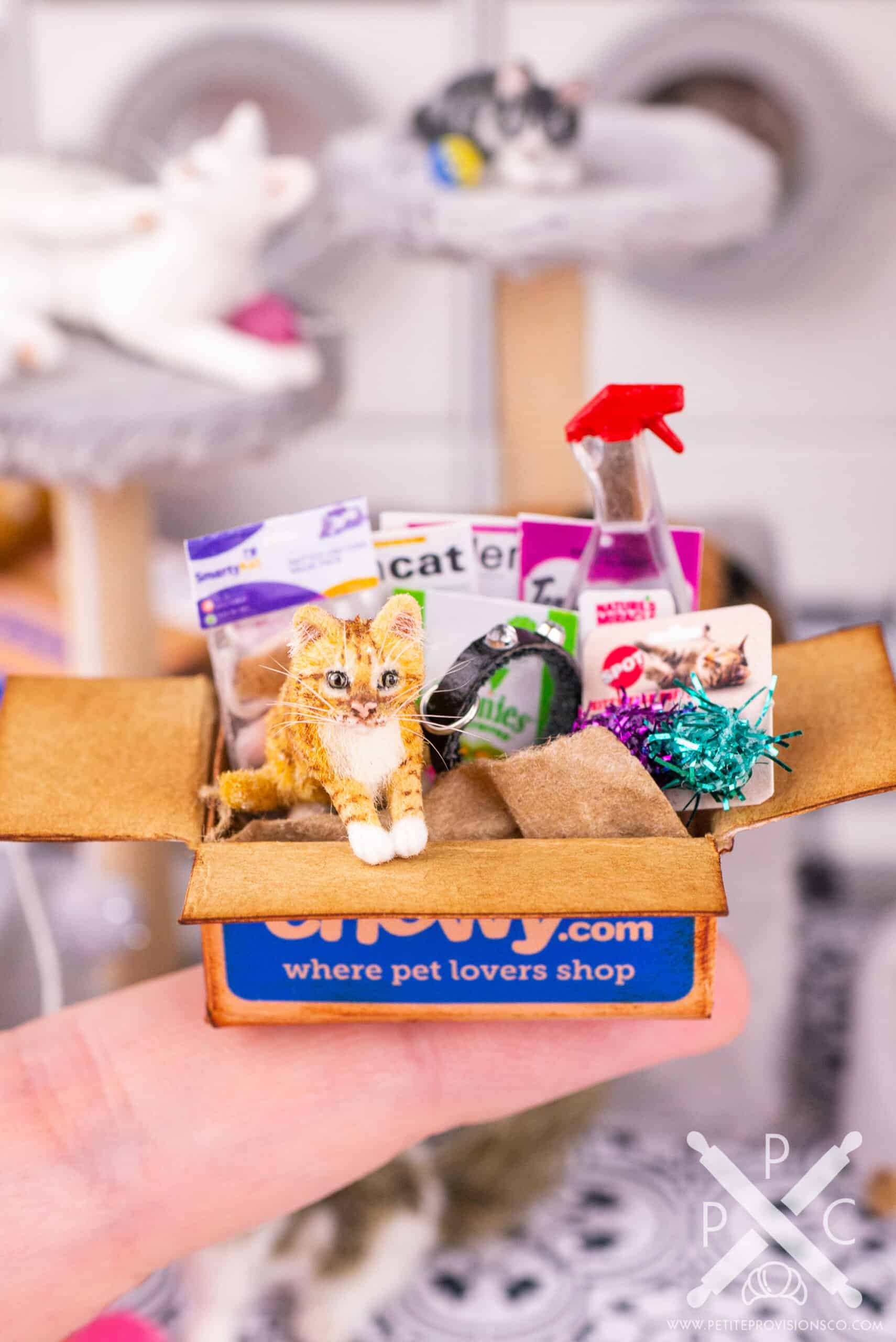 One inch scale orange tabby kitten in a shipping box from Chewy in a dollhouse miniature scene by Erika Pitera, The Petite Provisions Co.