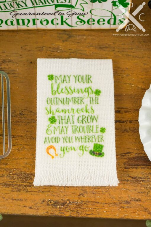 Dollhouse Miniature St. Patrick's Day Irish Blessing Tea Towel