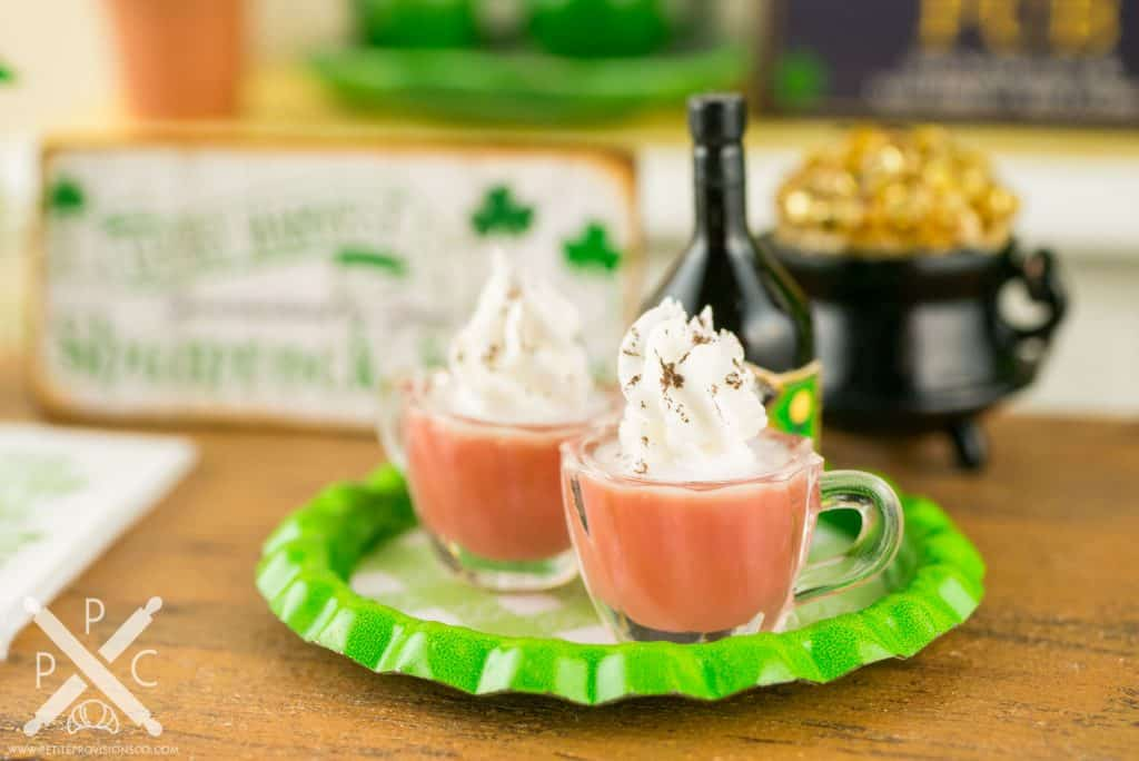 Dollhouse Miniature St. Patrick's Day Irish Coffee and Irish Cream Liqueur Set on Tray