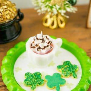 St. Patrick's Day Irish Coffee and Shamrock Cookies Set on Tray
