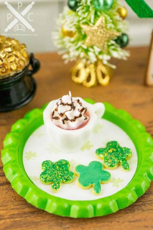 Dollhouse Miniature St. Patrick's Day Irish Coffee and Shamrock Cookies Set on Tray