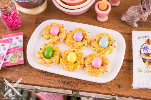 Dollhouse Miniature Italian Easter Bread on Platter - 1:12 Dollhouse Miniature Easter Food