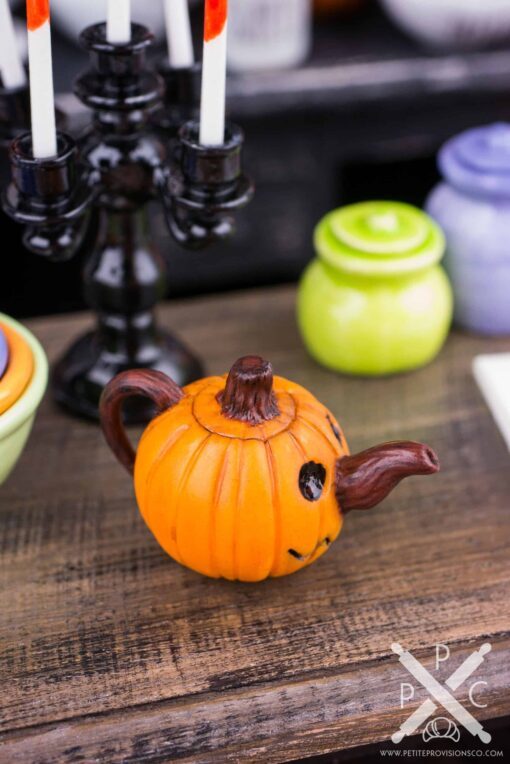 Dollhouse Miniature Halloween Jack-o'-lantern Teapot - 1:12 Dollhouse Miniature - Halloween Miniatures
