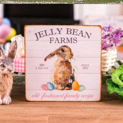 Dollhouse Miniature Jelly Bean Farms Sign - Decorative Easter Sign - 1:12 Dollhouse Miniature Easter Sign