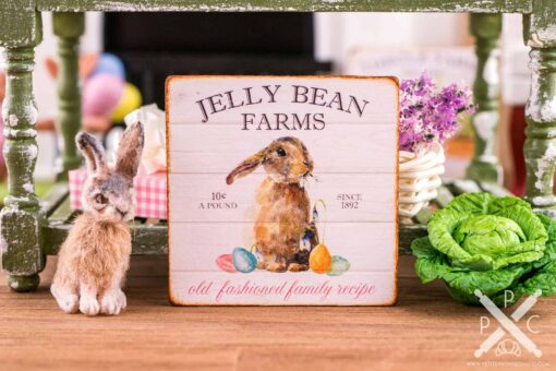 Dollhouse Miniature Jelly Bean Farms Sign - Decorative Easter Sign - 1:12 Dollhouse Miniature Easter Sign