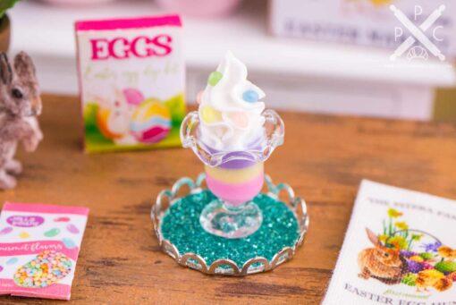 Dollhouse Miniature Easter Jelly Bean Parfait on Tray - 1:12 Dollhouse Miniature Easter Food - Easter Miniatures