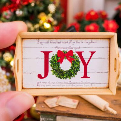 Dollhouse Miniature Joy Christmas Wood Tray - 1:12 Dollhouse Miniature Christmas Decor - Christmas Miniatures