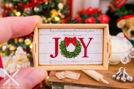 Dollhouse Miniature Joy Christmas Wood Tray - 1:12 Dollhouse Miniature Christmas Decor - Christmas Miniatures