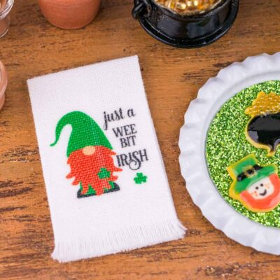 Dollhouse Miniature Just a Wee Bit Irish Gnome St. Patrick's Day Tea Towel - St. Patrick's Day Towel - 1:12 Dollhouse Miniature Towel